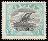 Lot 1309 [1 of 2]:1932 New Values 9d & 1/3d both optd 'SPECIMEN' SG #127s,128s, hinged, Cat £750. (2)