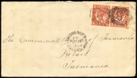 Lot 1173 [1 of 2]:1903 (Nov 15) cover from Hughenden to Tatt's in Hobart, stamps cancelled with BN '531' and 3 TPOs on back, worn TPO S&W Railway, TPO No 1 Northern Railway and light TPO No 3 NCR.
