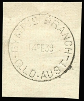 Lot 1309:Gympie Branch: 'GYMPIE BRANCH/14FE39/QLD-AUST' (E-B = 4mm) on piece. [Not previously recorded - From manufacturer's proof page.]