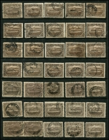 Lot 722 [5 of 5]:Pictorials Group with 3d x35 (perf 'T' x6), 4d x30 (perf 'OS' x1, perf 'T' x13), 5d perf 'T' x35 & 6d x35 (perf 'T' x5). Plus mint 2½d (toned), 4d & 6d. A handy group with several printings and shades. (138)
