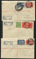 Lot 1249 [3 of 3]:1930s Registered Covers: all opening days covers, with Domain Rd, Geelong Rd Footscray, Oakleigh South, St KIlda Junction, Toorak Rd & Wantirna South, quality of strikes is mixed. Plus fine registered 'SHOW GROUNDS/26SE36/MELBOURNE' cover. (7)