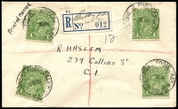 Lot 1249 [1 of 3]:1930s Registered Covers: all opening days covers, with Domain Rd, Geelong Rd Footscray, Oakleigh South, St KIlda Junction, Toorak Rd & Wantirna South, quality of strikes is mixed. Plus fine registered 'SHOW GROUNDS/26SE36/MELBOURNE' cover. (7)