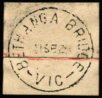 Lot 1231:Bethanga Bridge: 'BETHANGA BRIDGE/11SE28/VIC' on piece. [Rated 5R]  PO 18/6/1928; closed 1/5/1929.