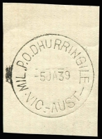Lot 2004:Dhurringile Mil. P.O.: WWW #10 'MIL.P.O.DHURRINGILE/5JA39/VIC.-AUST.' on piece. [Rated 4R - From manufacturer's proof page, real date c.5JA40.]  PO 1/2/1940; renamed Tatura Mil. P.O. No. 1 PO 16/4/1940.