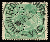 Lot 1244 [2 of 2]:Muckleford South: 'MUCKLEFO[RD S]UTH/6FE24/VIC' (A2) on 1½d green KGV. Plus 'MUCKLEFORD RLY [STN]/6AU26/VIC' (A2) on 1½d red KGV. [Both rated 3P] (2) PO 8/9/1873; closed 31/7/1970.