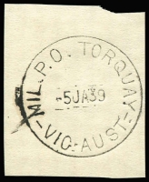 Lot 2380:Torquay Mil. P.O.: WWW #30 'MIL.P.O. TORQUAY/5JA39/VIC.-AUST.' (arcs 2,2) on piece. [Rated 4P - From manufacturer's proof page, real date c.5JA40.]  PO 15/1/1940; closed 13/4/1940.