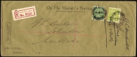 Lot 319:4d Greenish Olive + 1d green both perf 'OS', tied by Elizabeth St, Melbourne cds to 1929 (6 Mar) registered cover to Mortlake.