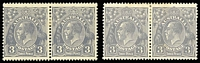 Lot 145:3d Blue Die Ia pair BW #106 and Die II pair with Damaged upper frame at left BW #108j, Cat $255, minor toning. (2 pairs)