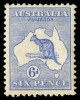 Lot 23:6d Blue BW #17, small crease and lightly toned gum.