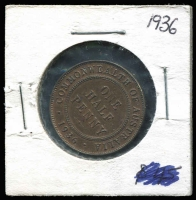 Lot 154 [2 of 2]:Australia: 1936 ½d eight clear pearls.