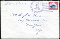 Lot 1693:1918 24c Jenny tied to cover to New York by Washington Air Mail Service cancel MAY 15 1918 (AmAMC #101), scarce pioneer Airmail cover.