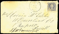 Lot 1553 [1 of 2]:1870 Cover to New Brunswick with 6d blue Washington, with grill, cancelled with 'HOLDEN/MAR24/MASS