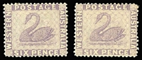 Lot 1002:1882-85 Recess Wmk Crown/CA (Sideways) Perf 14 6d lilac, two nice examples, SG #80, Cat £190. (2)