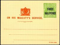 Lot 334:1928 'THREE/HALFPENCE' On 1d Green KGV Sideface Solid 'OS' on School Committee meeting card, BW #PO9, unused, scarce.