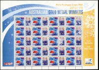 Lot 434:2000 Paralympic Team 2000 P-Stamps 45c Red Kangaroo and Flag sheet of 20 with se-tenant labels (of winners) with marginal inscription 'Winter Paralympic Games 2002/SALT LAKE CITY/AUSTRALIAN GOLD MEDAL WINNERS/ATHLETE/Bart Bunting/GUIDE/Nathan Chivers'. The photos and marginal inscriptions appear to have ink-stripping. Miniscule adhesion on reverse.