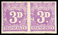 Lot 795:1950-66 Third Series Adhesive Stamp Duty: 3d mauve horizontal imperf pair, Cat #2.315p, rated R1. Very minor gum bend.