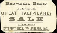 Lot 850 [2 of 2]:1893 Use of 1d Green Advertising Card (PTPO ?) for 'BROWNELL BROS' Half Yearly Sale. This appears to be part of a folder rather than a card. 'HOBART' cds. Corners trimmed.