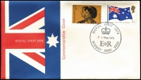 Lot 341:1970 Royal Visit complete set of 22 postmarks on Australia Post souvenir covers. Unaddressed. APM3020-42.
