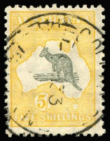 Lot 101:5/- Grey & Yellow-Orange few short perfs, indistinct cds.