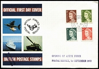Lot 583 [2 of 2]:1972-73 ANZUK Group with 1973 'Forces Mail' covers (4) with 5c adhesive tied by 'ANZUK F.P.O. 5/26 (or) 28 JA/73/3' cds to South Australia, also 1972 'OPENING OF ANZUK FORCE/POSTAL SERVICE, 1st SEPTEMBER 1972' handstamp on commem GB FDC envelope with ANZUK F.P.O. 5/1 SP/72/2' cds tying QE 1c to 4c to cover. (5)