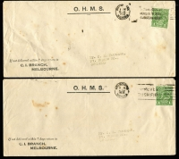 Lot 302 [2 of 3]:1d Green & 2d Red 'OS' 1d perf 'OS' x2 & ovpt 'OS' on Melbourne Criminal IB covers, plus 2d perf 'OS' on House of Representatives cover & ovpt 'OS' on Public Service Arbitrator cover, BW #82(OS),103(OS), Cat $140+, a bit spotty. (5)