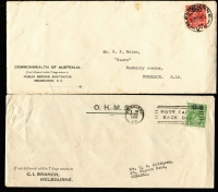 Lot 302 [3 of 3]:1d Green & 2d Red 'OS' 1d perf 'OS' x2 & ovpt 'OS' on Melbourne Criminal IB covers, plus 2d perf 'OS' on House of Representatives cover & ovpt 'OS' on Public Service Arbitrator cover, BW #82(OS),103(OS), Cat $140+, a bit spotty. (5)