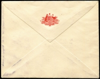 Lot 326 [2 of 2]:PMG's Department 1961 1/- Colombo Plan on 'ON HER MAJESTY'S SERVICE/POSTMASTER-GENERAL' envelope tied by ROYAL SYDNEY PHILATELIC EXHIBITION' cds (last day) and neatly addressed to J.W. Rawlinson.  [J. W. Rawlinson was PMG Public Relations Officer, Brisbane.]