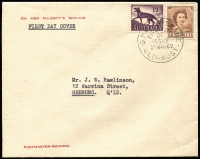 Lot 327:PMG's Department 1962 8d Tiger Cat & 2d brown QEII on 'ON HER MAJESTY'S SERVICE/POSTMASTER-GENERAL' cover tied by BRISBANE FDI cds, neatly typed address to J. W. Rawlinson.  [J. W. Rawlinson was PMG Public Relations Officer, Brisbane.]