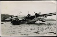 Lot 37 [2 of 4]:Empire Flying Boats: with photos (3, incl Flying Boat in Port Moresby cWWII with Burns Philp Vessel moored nearby, QANTAS 'COOLANGATTA'), PPCs (3, incl 'CAPELLA'), some recent reproductions incl photo of Ansett Flying Boat in Hobart, and Lifebuoy (soap) card of QANTAS S23 C Class Flying boat. Generally fine.