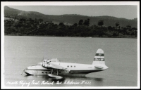 Lot 37 [3 of 4]:Empire Flying Boats: with photos (3, incl Flying Boat in Port Moresby cWWII with Burns Philp Vessel moored nearby, QANTAS 'COOLANGATTA'), PPCs (3, incl 'CAPELLA'), some recent reproductions incl photo of Ansett Flying Boat in Hobart, and Lifebuoy (soap) card of QANTAS S23 C Class Flying boat. Generally fine.