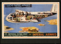 Lot 37 [1 of 4]:Empire Flying Boats: with photos (3, incl Flying Boat in Port Moresby cWWII with Burns Philp Vessel moored nearby, QANTAS 'COOLANGATTA'), PPCs (3, incl 'CAPELLA'), some recent reproductions incl photo of Ansett Flying Boat in Hobart, and Lifebuoy (soap) card of QANTAS S23 C Class Flying boat. Generally fine.