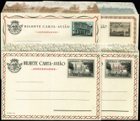 Lot 1612 [2 of 4]:Unused: stationery array from [1] Portuguese India (2) incl 1898 ¼ Tanga Postal Card, [2] St. Thomas & Prince Islands Air letters 1950 1.50e & 2.50e both with 'Bond' watermark, 1952 2$50e (eleven different overlays), 1955 2$50, 1$00 on 2$50, 1958 1$00 & 1$50, [3] Timor, etc, also few Portugal. Generally fine. (27 items)