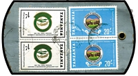 Lot 1435 [2 of 2]:C1981 Metal Tag registered airmail from TANGA to tea importers in USA with 1981 Nat Parks 1/- pair & 20/- pair. Unusual item.
