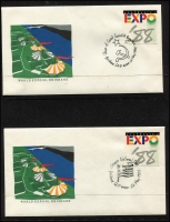 Lot 522 [2 of 2]:1988 Expo complete set of covers with pictorial postmarks (64) in special album plus several other Expo items. (70+)
