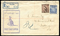 "Lot 330 [1 of 2]:Unidentified 1937 3d Blue Die I KGVI & 6d Kookaburra tied to registered illustrated (boxed Kangaroo) cover by 'MORELAND WEST' cds, pencil mss ""No Att/(Initials)3/8/' on reverse alongside 'FOOTSCRAY' & REGISTERED/MELBOURNE' cds."