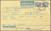 Lot 684:1959-64 Stamps on Telegrams 2/- Flannel Flower (pair) tied to Telegram form by 'CHERMSIDE WEST/5-P20NO64/QLD-AUST' cds. with TG 41. C 9061 - 11/62. at base.