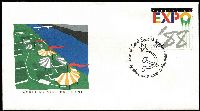 Lot 394 [2 of 2]:1988 Expo (Brisbane) collection of 64 Pavilion postmarks all in special Expo folder issued by Australia Post, also FDC & special Expo aerogramme. (68 items).