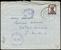 "Lot 2107 [1 of 2]:1946 (Dec 6) Stampless 'Forces Mail' cover to Victoria, endorsed ""Capt. L.A. Heywood/H.Q. Sub Area/Avadi/Indian/Command"" at lower left and backstamped 'EXPERIMENTAL S.O/6DEC.46/MS.-100' & 'TOO LATE FOR AIR MAIL"