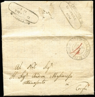 "Lot 1319 [2 of 2]:1834 Lettersheet written in Greek from Cefalonia to Corfu, red ""4"" rate mark plus British 'Officio Della Posta Di Cefalonia' handstamp (RL HS 22) plus 'Cefalonia/12 Aprile/1834' scroll (RL HS 71) & 'Corfu' arrival ds.(RL HS 62), also 1844 outer 'Corfu' handstamp (RL HS 62) to Cephalonia (RL HS 71) with mss ""3"". Latter with Simmermacher certificate (2011). (2)"