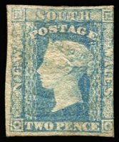 Lot 786 [2 of 2]:1856-60 Imperf Small Diadems Recess Wmk Double-Lined Numeral 2d blue (4, one part og, 3 no gum incl one with inv wmk). All appear unused, SG #110-14, Cat £1,100+. Mixed condition with margins at places. (4)