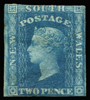 Lot 1071 [1 of 2]:1856-60 Imperf Small Diadems Recess Wmk Double-Lined Numeral 2d blue (4, one part og, 3 no gum incl one with inv wmk). All appear unused, SG #110-14, Cat £1,100+. Mixed condition with margins at places. (4)