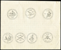 Lot 1287 [2 of 4]:Perth Empire Games: complete group of 25 pictorial datestamps on 4 plain sheets of paper (each approx 21x17cm). These appear to be a set of proof strikes. (4 items)