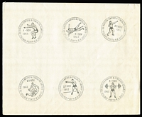 Lot 1287 [1 of 4]:Perth Empire Games: complete group of 25 pictorial datestamps on 4 plain sheets of paper (each approx 21x17cm). These appear to be a set of proof strikes. (4 items)