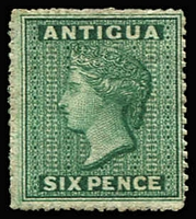 Lot 816:1863-67 6d green, fine unused. SG #8, Cat £700.