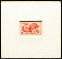 Lot 2106:1963 Export 5d bright red, sunken Die Proof with 'RBA' cachet on reverse and initialed & numbered '2.10.63/7' [Die Proof No. 7 was presented to D. Dundas of the Stamp Advisory Committee.]