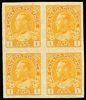 Lot 1468 [1 of 2]:1922-31 Imperf 1c chrome-yellow & 3c carmine blocks of 4 with good margins, some units are MUH, SG #259,261, Cat £164. (2 blocks)