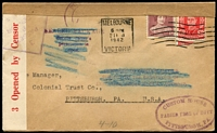 Lot 118:USA 1942 (Feb 21) Censored ES & A Bank cover to USA with 'SEALED PACKAGE/Secure owner's/permission/to open' & 'SUPPOSED TO CONTAIN MATTER/SUBJECT TO THE PROVISIONS OF/EXECUTIVE ORDER 8389 AS AMENDED' all scored out with blue crayon alongside oval 'CUSTOM HOUSE/PASSED FREE OF DUTY/PITTSBURGH, PA.' in violet.