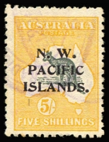Lot 1046:1915-16 Kangaroos 2nd Wmk 5/- grey & yellow, part Telegraph cancel, SG #92, Cat £110. Retail $200.