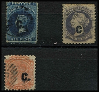 Lot 1022 [2 of 2]:Customs 'C' opt in blue on Large Star Wmk rouletted 1/- brown, 'C' opt in black on Wmk Large Star 6d blue, Perf 10 4d purple, Crown over SA Wmk P10 2d orange. Mixed condition. [Vendor states all Presgrave checked as genuine.] (4)