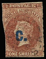 Lot 1022 [1 of 2]:Customs 'C' opt in blue on Large Star Wmk rouletted 1/- brown, 'C' opt in black on Wmk Large Star 6d blue, Perf 10 4d purple, Crown over SA Wmk P10 2d orange. Mixed condition. [Vendor states all Presgrave checked as genuine.] (4)